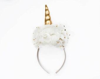 Wonderland | Unicorn DIY DELUXE Headband Cream + Gold | Peony Shabby Chiffon Flowers | Great for  Princess Parties & Birthdays
