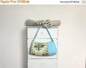 ON SALE Large Wristlet Clutch BLUEBERRY Lemonade = Amy Butler French Wallpaper lemon yellow turquoise blue polka dot adjustable jennjohn han