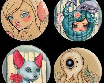 SAVE 30% Needle Minder by Lea Barozzi , Octopus Magnet, Alice In Wonderland Cross Stitch Keeper, Fridge Magnet, Pattern Holder, Cat needle m