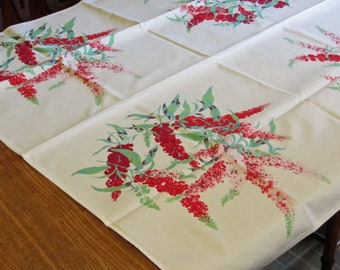 Bark Cloth Tablecloth 50's Vintage in Bold Red Lilac Pattern