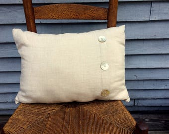 Linen Pillow with Vintage Buttons