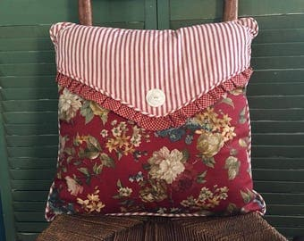 Shabby Chic Pillow Waverly Mixed Floral, Check and Ticking Stripe Pillow, Envelope Closure with Vintage Button .