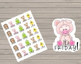 TGIF Stickers  Planner Stickers It's Friday Stickers Planner Stickers  Fits Erin Condren Life Planner & Other Planners Friday Stickers