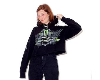 vintage 90s y2k MONSTER ENERGY cropped hoodie / xtreme sports motocross sponsored sleeves black cropped hoodie cropped sweatshirt crop top