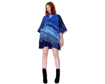 EVEN HOTTER blue flame shirt w LOWRIDER 90s flame shirt xxxl 3xl oversized boyfriend shirt dress flame dress 90s grunge cyber club kid rave