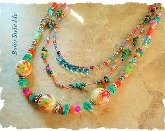 Bohemian Jewelry, Colorful Beaded Necklace, Hand Knotted, Modern Hippie, Multistrand, Boho Style Me, Kaye Kraus