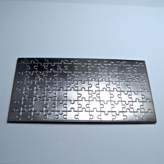 "Puzzle Rolling Mill Texture Embossing Plate 3"" x 6"" Steel Texture Plate for Rolling Mill or Hammering - Made in USA"