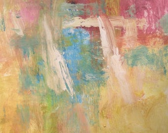 Two Sails, expressive abstract in pink yellow blue and white