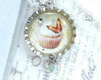 Yellow Cupcake Necklace Butterfly Necklace Bottle Cap Necklace Cupcake Gift Shabby Chic Necklace
