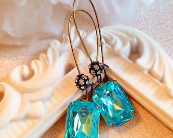 SALE 20% Off Art Deco Jewelry - Aqua Blue Earrings - Art Deco Earrings - Best Christmas Gift for Friend - MADELINE Aqua