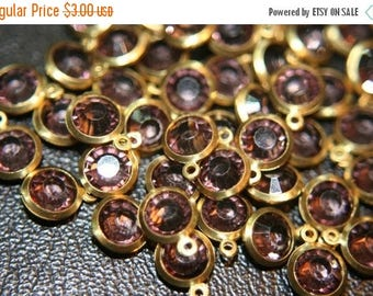 SUMMER CLEARANCE Faceted Espresso Brown Round Czech Pendants on Brass -6mm- 12 pcs