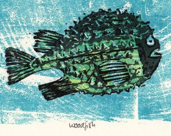 Original Woodcut, Fish, handpulled, limited edition, suicide print, reduction cut