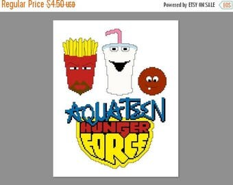 Christmas in July Aqua Teen Hunger Force Pixel People Character Cross Stitch PDF PATTERN ONLY