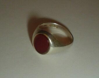 Signet ring sterling silver carnelian vintage size 6.5 UK N