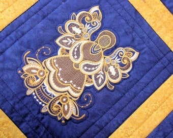 Christmas Angel Wall Hanging Quilt, Blue Gold Quilted Christmas Wall Hanging, Machine Embroidered Holiday Art Quilt, Quiltsy Handmade