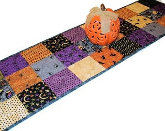 Spiders Halloween Charms Quilted Table Runner, Black Orange Table Runner Quilt, Black Cats Owls Spiders Decor, Quiltsy Handmade Patchwork