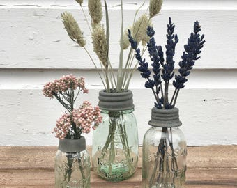 Mini Mason Jar Flower Vase Set/3
