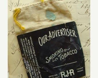 ONSALE Antique Muslin Original Tobacco Drawstring Bag Farmhouse Decor
