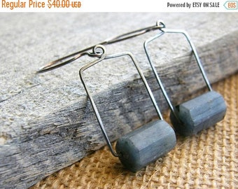Summer Sale 20% Off Blue Kyanite Metalwork Sterling Silver Earrings