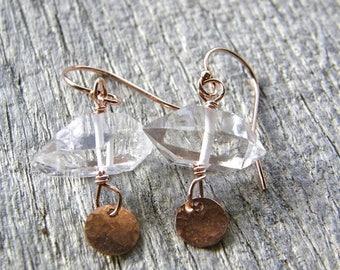 Summer Sale 20% Off Petite Rose Gold and Herkimer Diamond Earrings, Dainty Modern Quartz Earrings, Choose Your Stones