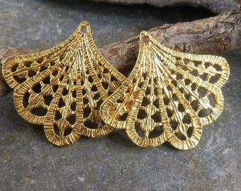 24K Gold Vermeil Art Deco Style Earring Drops - Art Deco Fans - Gold Art Deco Charms - One Pair - edadfv