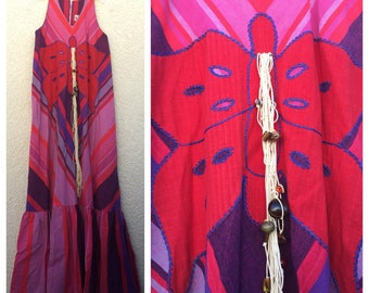 Vintage Mexican butterfly dress handwoven stripe maxi caftan