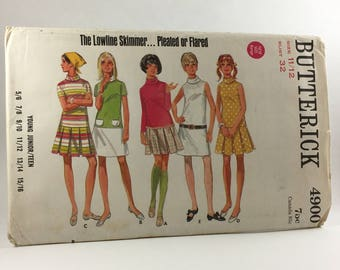 Butterick 4900 - Vintage Pattern, Size 11/12, Young Junior/Teen, Lowline Skimmer, 1960's
