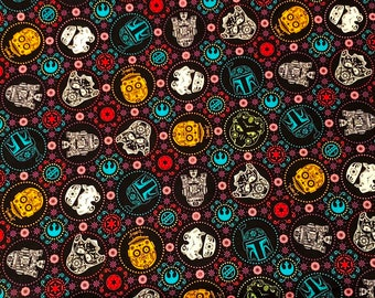 NEW!!  Star Wars Characters Sugar Skulls Cotton Fabric sold by the yard and by the half yard