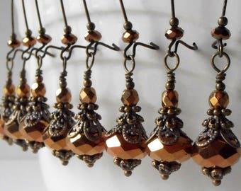 Brown Crystal Earrings, Vintage Style Bridesmaid Earrings, Handmade Beaded Dangles, Rustic Wedding Jewelry, Fall Weddings, Bridesmaid Gift