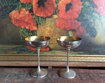 Silver Plated Coupe Set of 2 Cups Tarnished Silver Vintage Leonard Made in Italy Distressed Metal Champagne Glasses