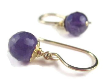 Amethyst Earrings Purple Gemstone Drop Sterling Silver or Gold Hooks or Leverbacks February Birthstone