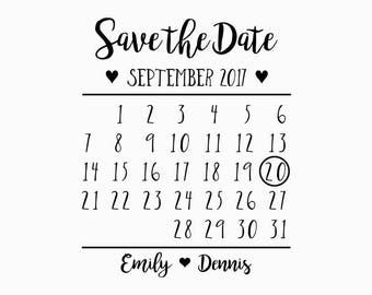 Custom Calendar Save-the-Date Cards Pre-Designed Rubber Stamp - Branding, Packaging, Party, Invitations, Tags, Wedding - W001