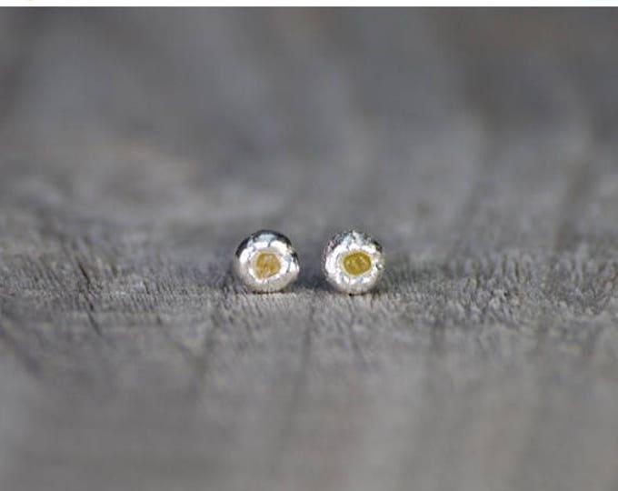 Summer Sale Raw Diamond Earring Studs, Pebble Earring Studs With Rough Diamond, Organic Shape Studs, 1.29 mm Yellow Diamond Wedding Gift
