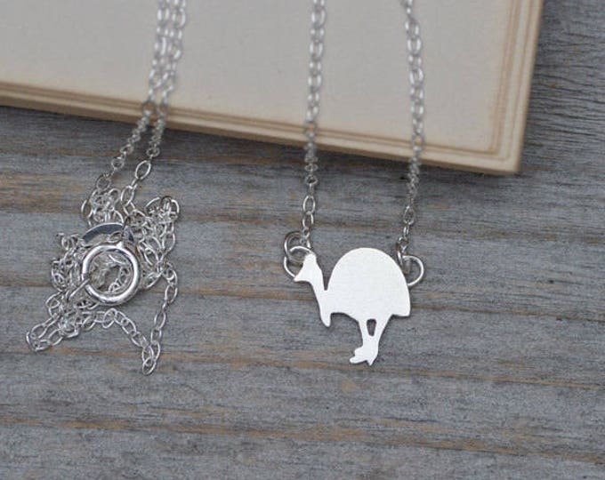 Southern Cassowary Pendant In Sterling Silver Handmade In The UK