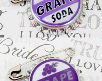 Ellie Badge Grape Soda PIN -  Personalized - Wilderness Explorer - Wedding Groom Gift
