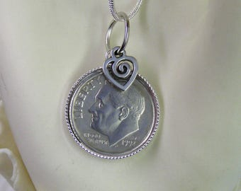 """1992 US Dime Pendant and Necklace, 25th Anniversary-24"""" Sterling Silver Chain-Coin Jewelry"""