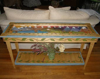 "CONSOLE TABLE - Wood Entry table - 54"" L x 17"" W x 30"" H   Custom - Hallway table - Sofa Table -  Farmhouse table - Painted furniture"
