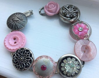 Vintage Pink and Rhinestone Silvertone Filigree Button Bracelet
