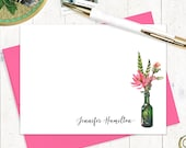 personalized stationery set - WATERCOLOR FLOWERS in GREEN wine bottle - set of 12 flat note cards - choose envelope color - lotus stationary