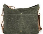 Waxed Canvas Bag Waxed Canvas Tote Crossbody Tote Mens Bag Waxed Canvas Crossbody Bag Green Purse