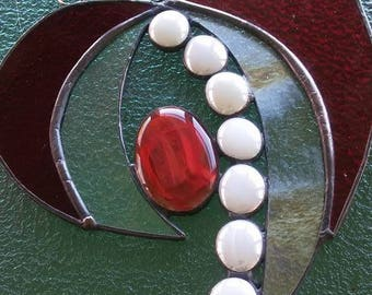 Stained glass heart, stained glass window, heart, glass window panel,red heart, suncatcher