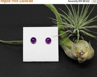 Christmas In July Sale - Amethyst Gemstone . SMALL 7mm Round Dome . Sterling Silver Posts Studs Earrings . Deep Purple . E17091