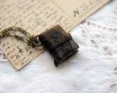 Mini Memoirs - Miniature Wearable Book, Brown Recycled Leather, Aged Paper - OOAK