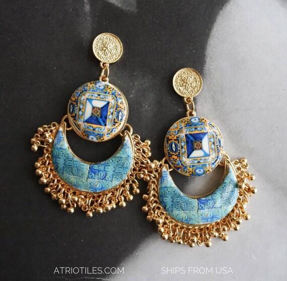 Earrings Portugal Tile Azulejo Antique 17th Century  Tomar - Santa Iria Church Diamond Point   Bohemian- Gift Boxed