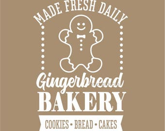 Gingerbread Bakery Sign, Christmas Decal, Gingerbread man, decal for sign, christmas sticker, chalkboard sign decal, farmhouse style sign