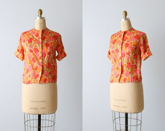 1950s 50s Blouse Tulip Print Short Sleeve Novelty Print / Pink Red Orange