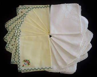 LOT Vintage Cocktail Lunch Napkins, 2 Sets of 6, Embroidered Floral Design, Cutwork Design