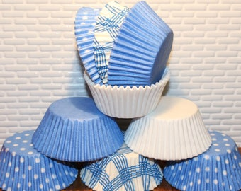 NEW - Chambray Blue & White Cupcake Liner Party Pak  (Qty 50) Blue Cupcake Liner, Blue Baking Cup, Blue Muffin Cup, Cupcake Liner,