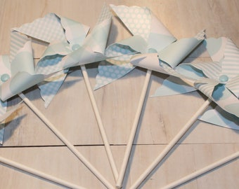 NEW - Pastel Blue or Dk Blue Pinwheel Collection (Qty 12) Pastel Blue Pinwheels, Dk Blue Pinwheels, Pinwheel Centerpieces, Pinwheels