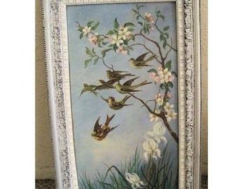 Antique Painting Birds Oil Victorian Folk Art